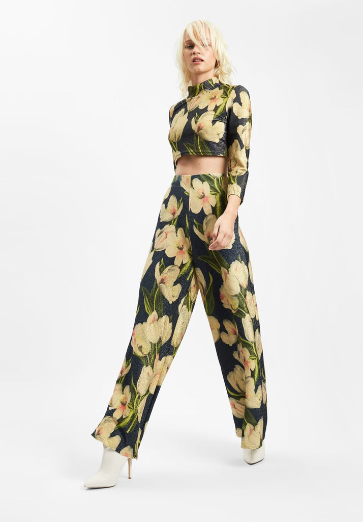 Traffic People Floral Wide Leg Palazzo Printed Trousers in Blue Back View Image
