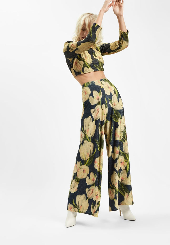 Traffic People Floral Wide Leg Palazzo Printed Trousers in Blue Side View Image