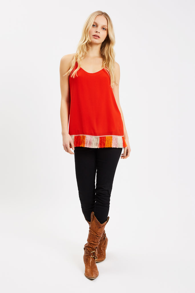 Traffic People Edge of Reason Fringed Red Camisole Back View Image