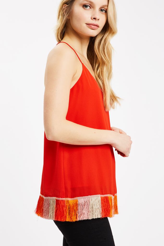 Traffic People Edge of Reason Fringed Red Camisole Side View Image