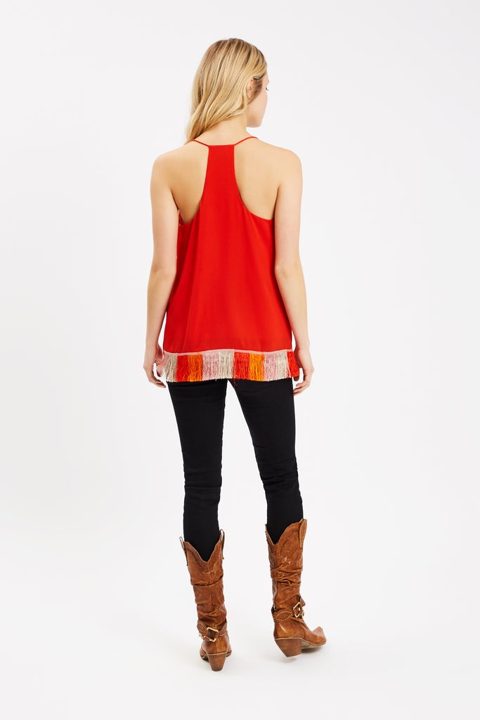 Traffic People Edge of Reason Fringed Red Camisole Close Up Image