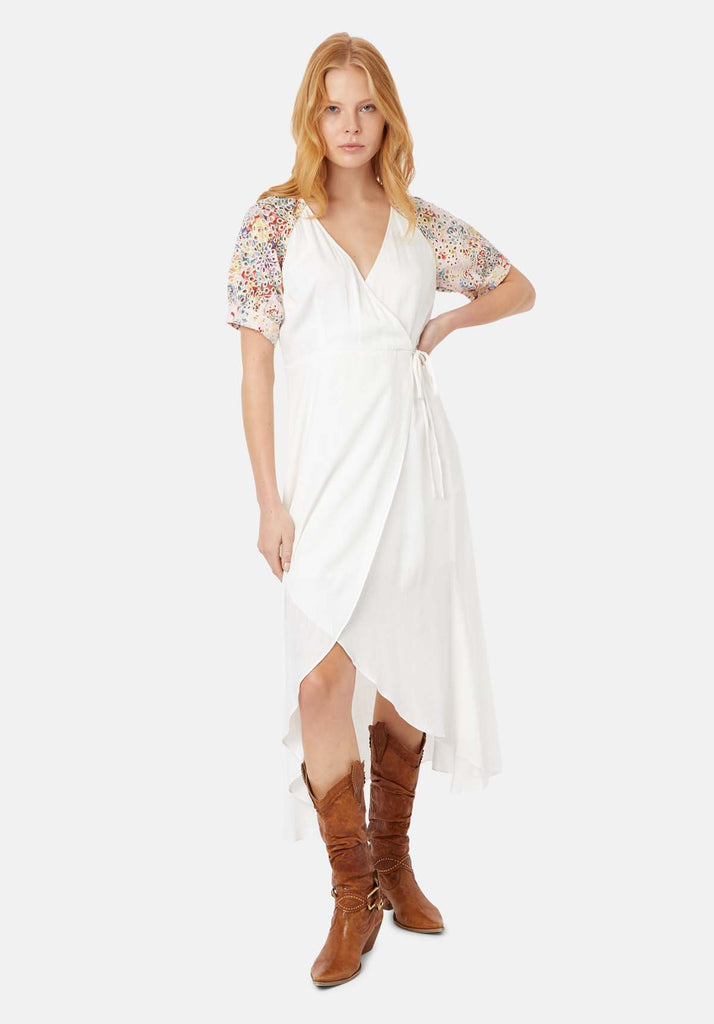 Traffic People Asymmetric Midi Wrap Dress in White Front View Image