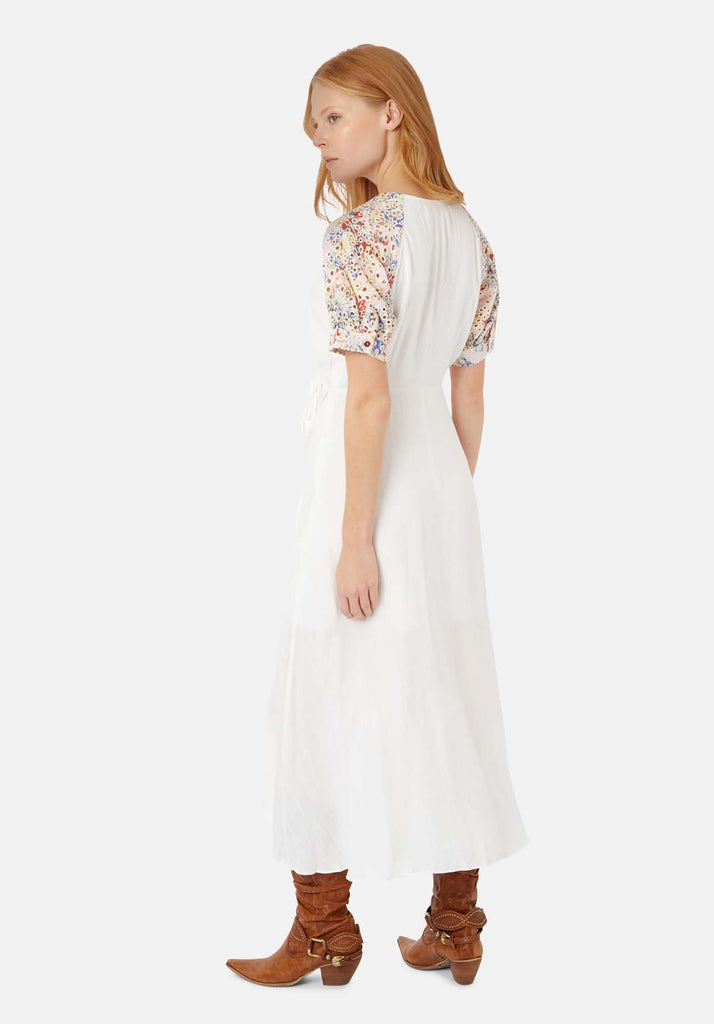 Traffic People Asymmetric Midi Wrap Dress in White Side View Image