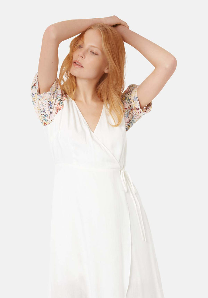 Traffic People Asymmetric Midi Wrap Dress in White Back View Image