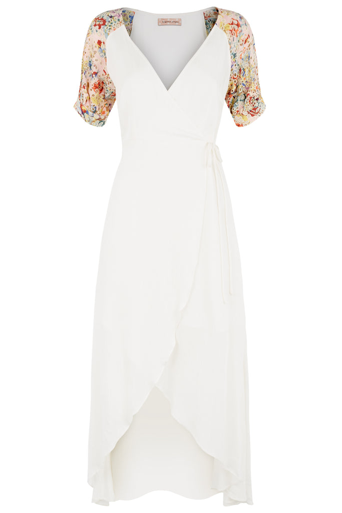 Traffic People Asymmetric Midi Wrap Dress in White FlatShot Image