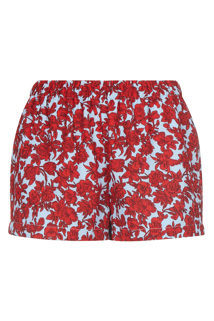 Traffic People Fools Floral Womens Shorts in Red and Blue Front View Image