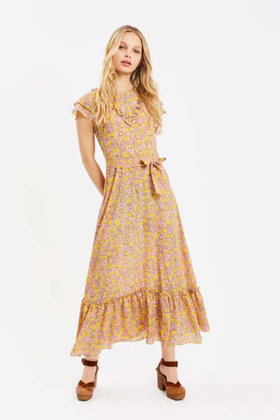 Traffic People Forgiven Maxi Floral Dress in Yellow and Pink Front View Image