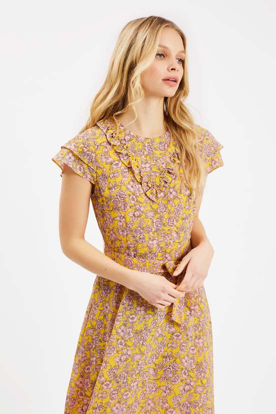 Traffic People Forgiven Maxi Floral Dress in Yellow and Pink Side View Image