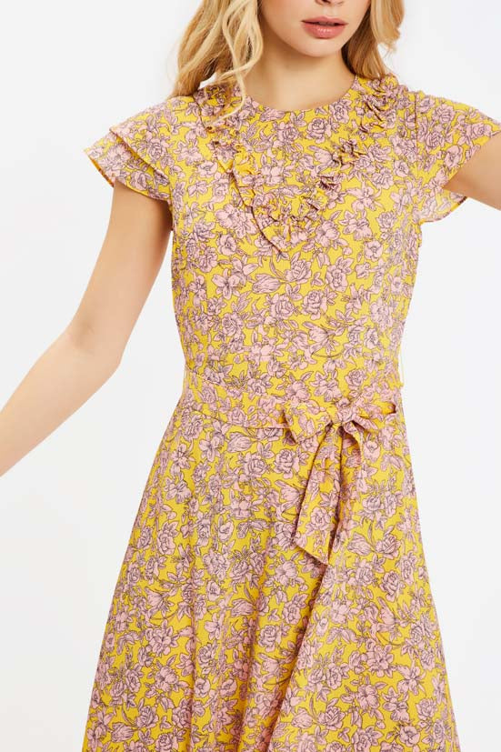 Traffic People Forgiven Maxi Floral Dress in Yellow and Pink Back View Image