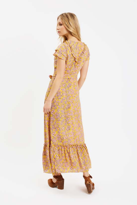 Traffic People Forgiven Maxi Floral Dress in Yellow and Pink Close Up Image