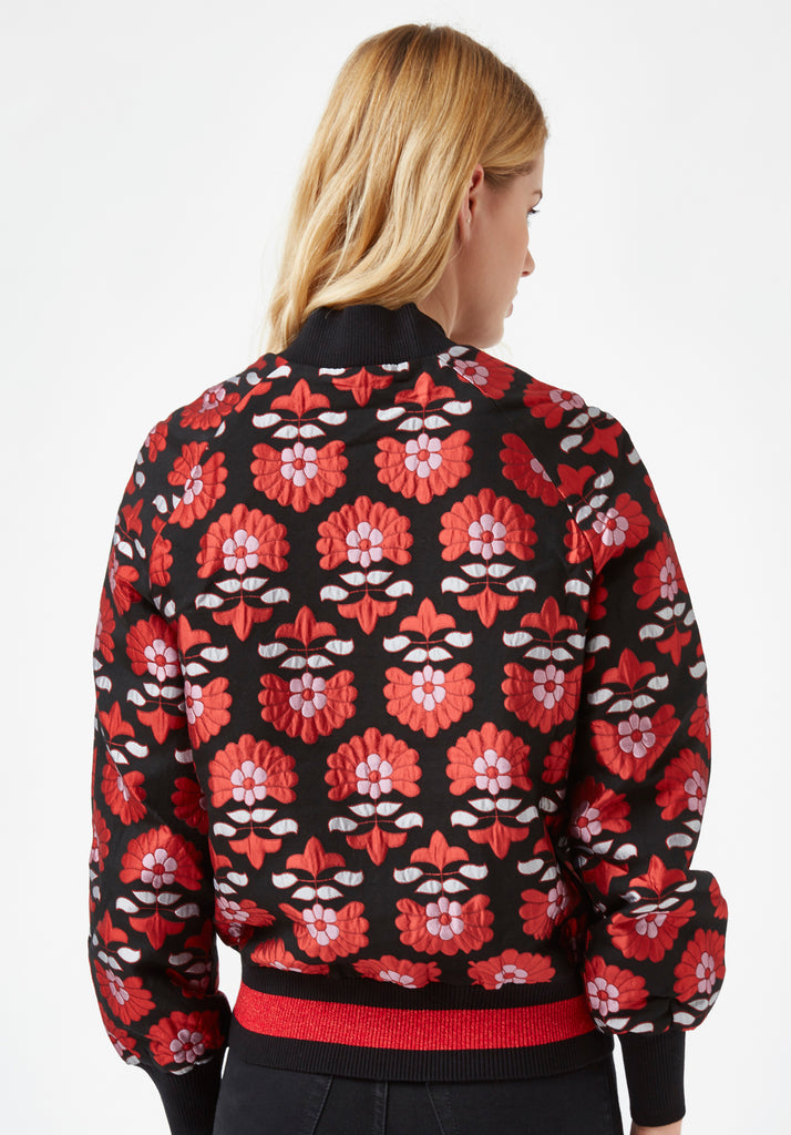 Traffic People Long Sleeve Bomber Floral Jacket in Red and Black Side View Image