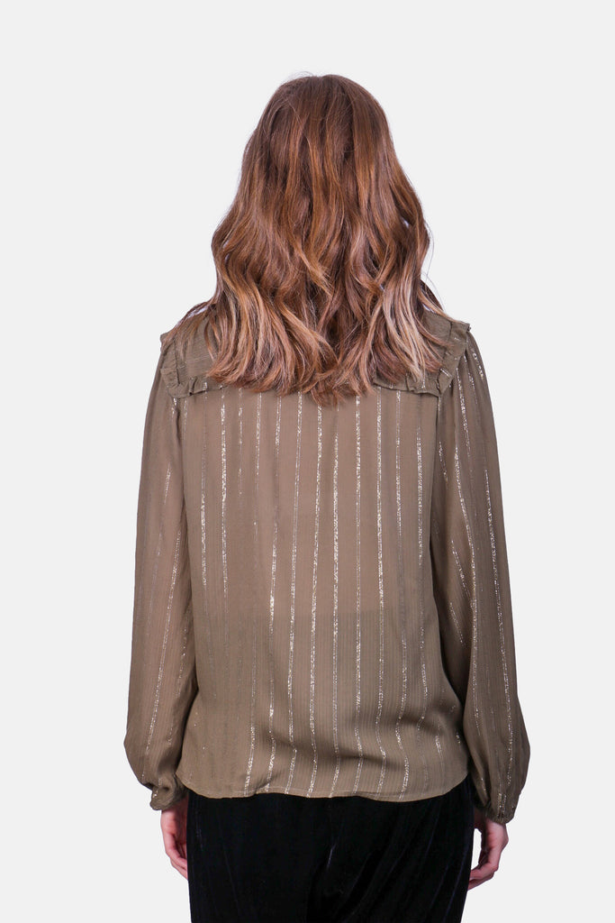 Traffic People Metallic Stripe Callous Long Sleeve Shirt in Green Close Up Image