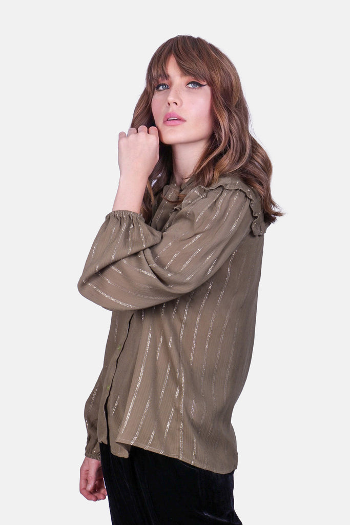 Traffic People Metallic Stripe Callous Long Sleeve Shirt in Green Side View Image