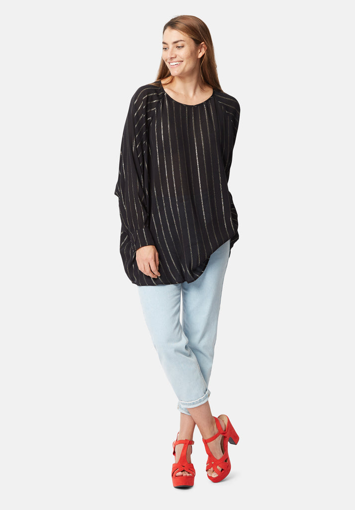 Bat Wing Metallic Stripe Top in Black