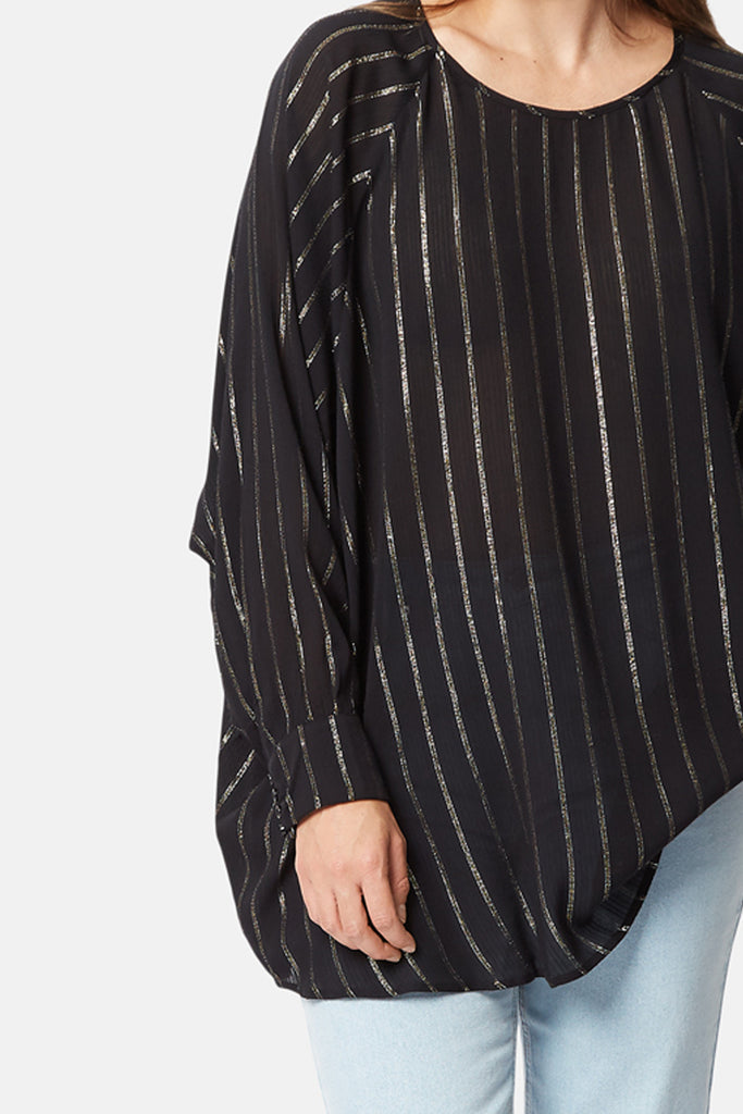 Traffic People Bat Wing Metallic Stripe Top in Black Back View Image