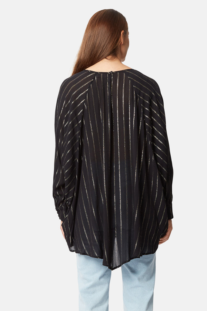 Traffic People Bat Wing Metallic Stripe Top in Black Side View Image