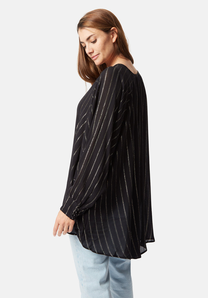 Traffic People Bat Wing Metallic Stripe Top in Black Close Up Image