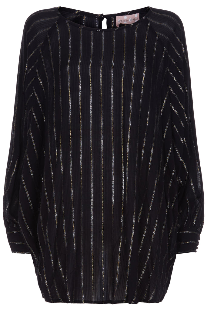 Traffic People Bat Wing Metallic Stripe Top in Black FlatShot Image