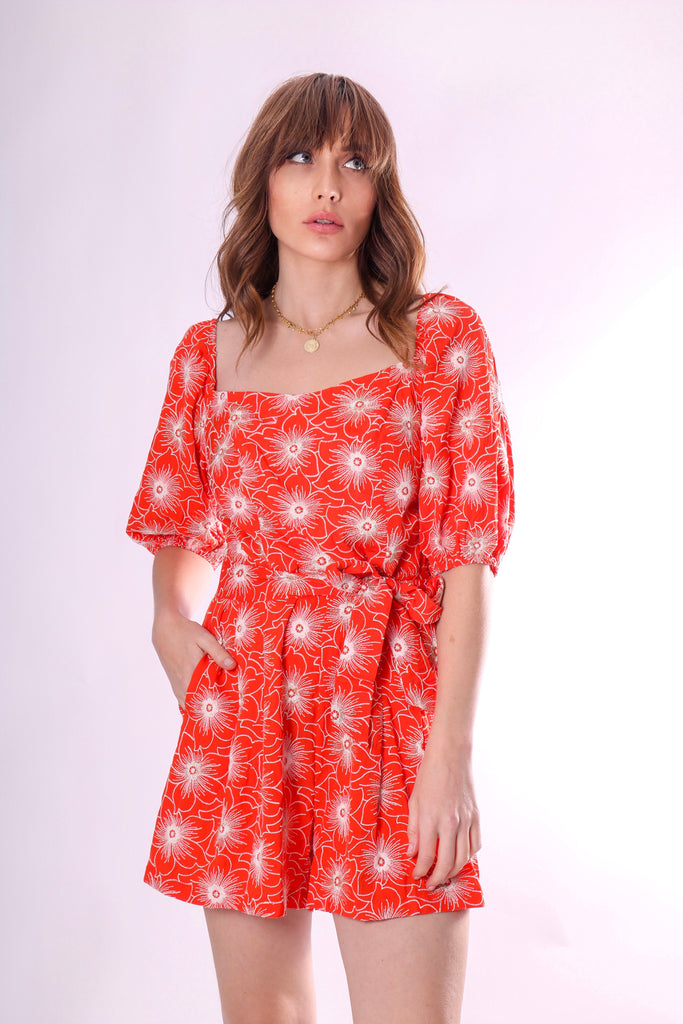 Dandy Short Sleeve Embriodered Playsuit in Red