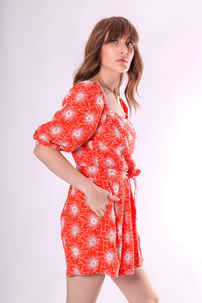 Traffic People Dandy Short Sleeve Embriodered Playsuit in Red Side View Image