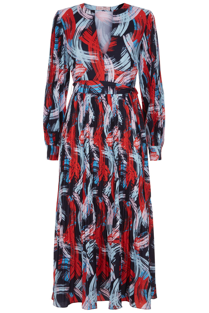 Traffic People V-Neck Falls and Rise Maxi Dress in Red and Black FlatShot Image