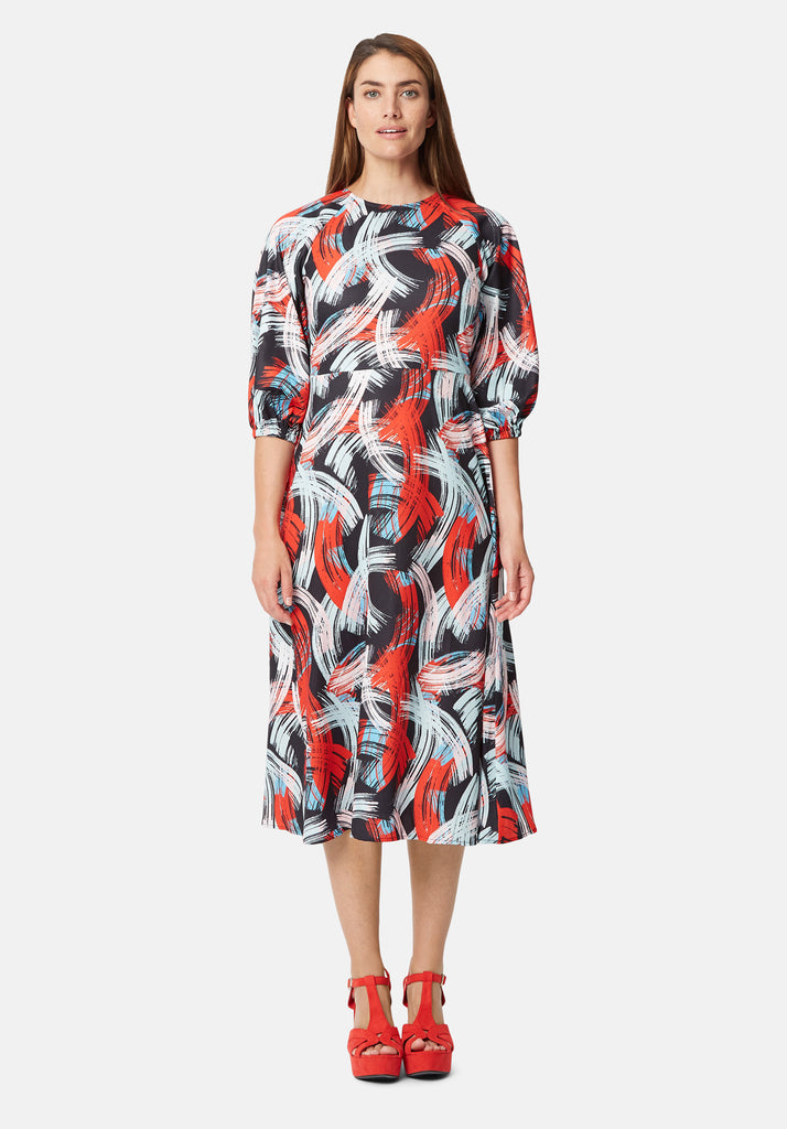 Traffic People Graphic Printed Midi Drap Dress in Red and Black Side View Image