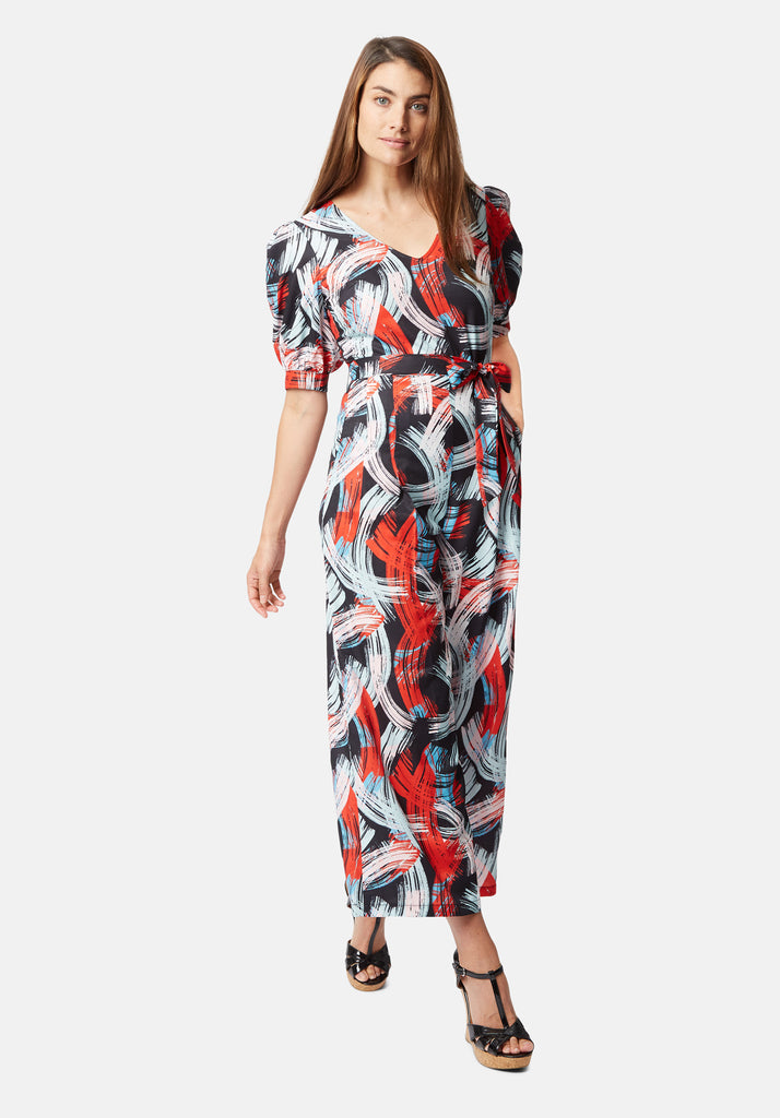Traffic People Printed V-Neck Betty Jumpsuit in Red and Black Back View Image