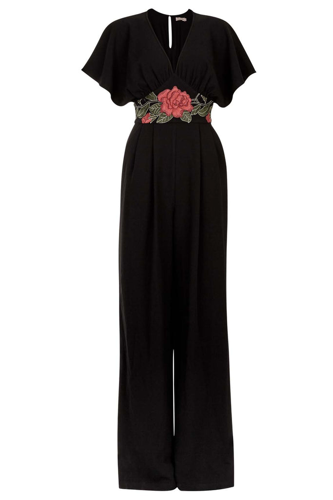 Geisha Short Sleeve Floral Jumpsuit in Black and Red