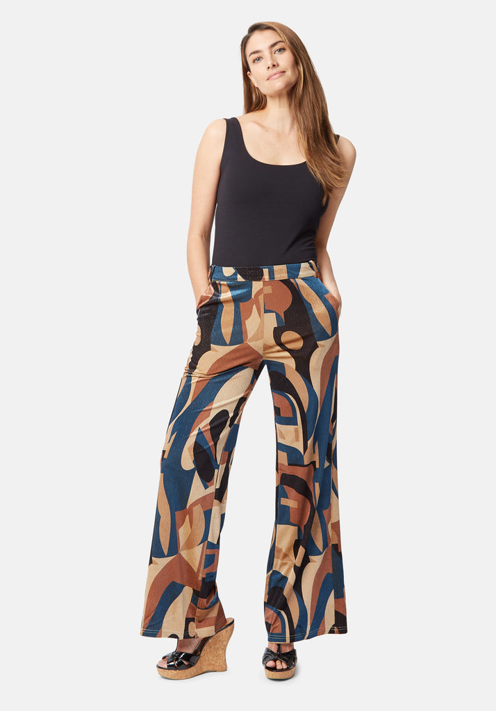 Traffic People Straight Leg Printed Cord Trouser in Blue and Beige Front View Image