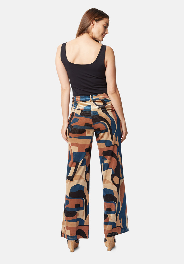 Traffic People Straight Leg Printed Cord Trouser in Blue and Beige Side View Image