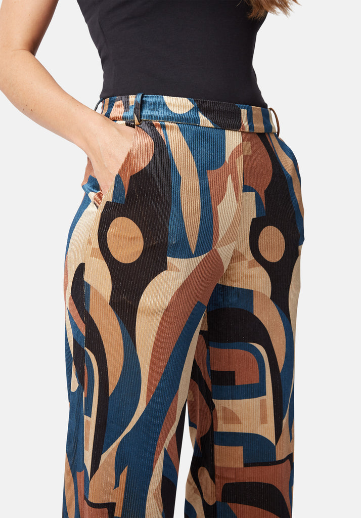 Traffic People Straight Leg Printed Cord Trouser in Blue and Beige Close Up Image