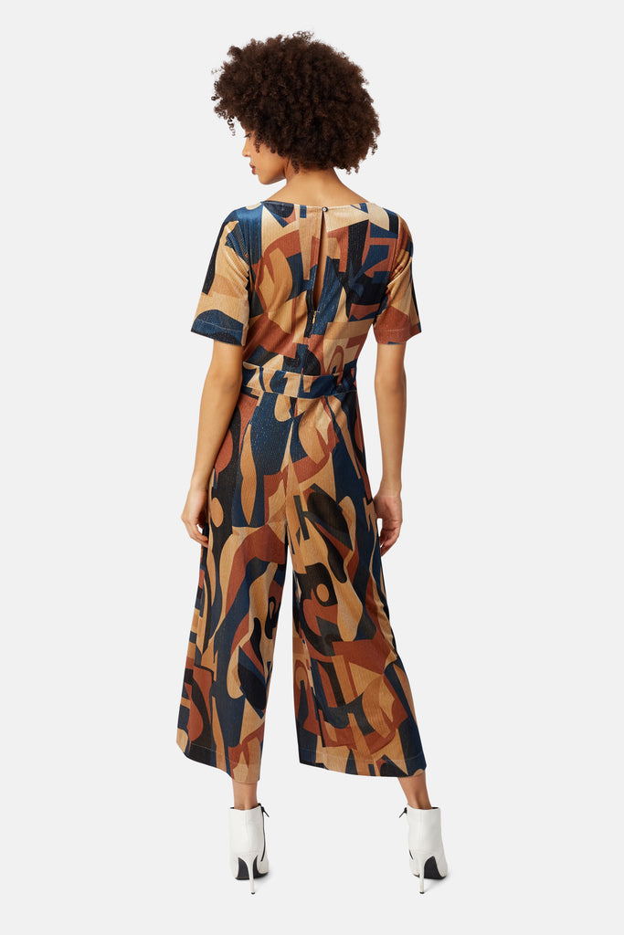 Traffic People Printed Short Sleeve Bianca Jumpsuit in Blue and Beige Back View Image