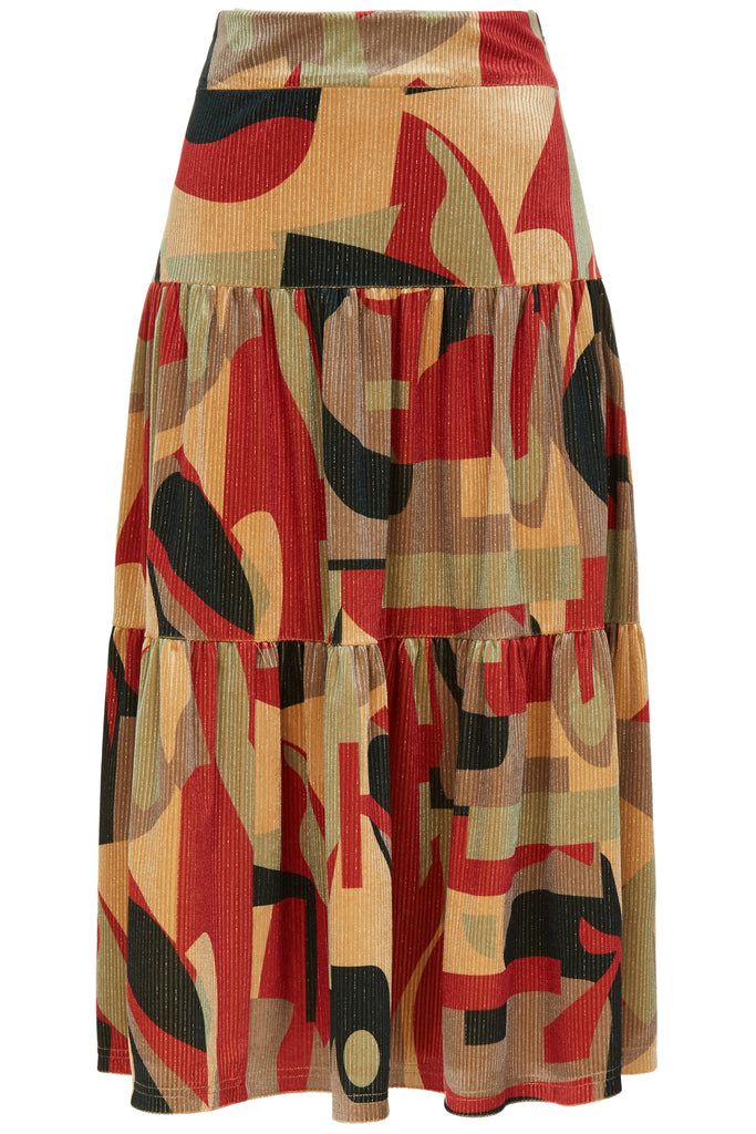 Traffic People Cord Tiered Midi Skirt in Rust Print FlatShot Image