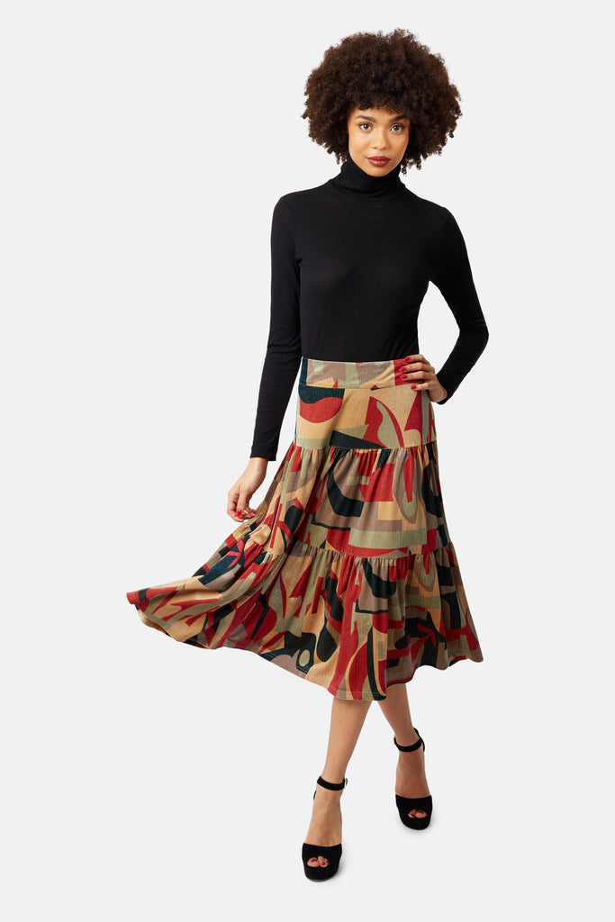 Traffic People Cord Tiered Midi Skirt in Rust Print Front View Image