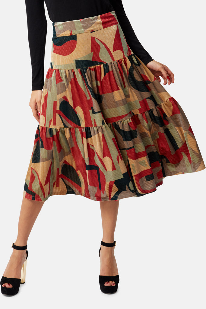 Traffic People Cord Tiered Midi Skirt in Rust Print Back View Image