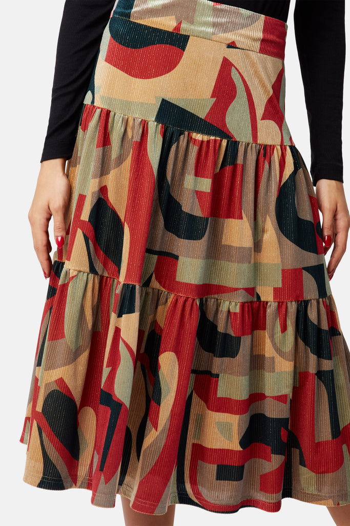 Traffic People Cord Tiered Midi Skirt in Rust Print Close Up Image