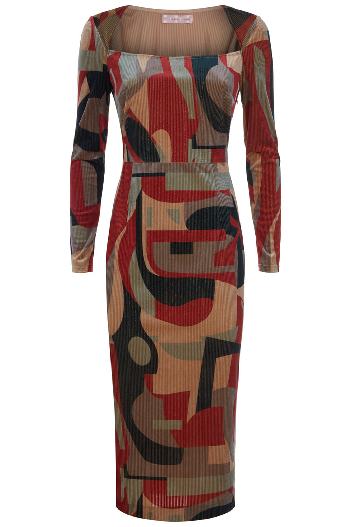 Traffic People The Maud Tube Midi Dress in Rust and Beige Front View Image