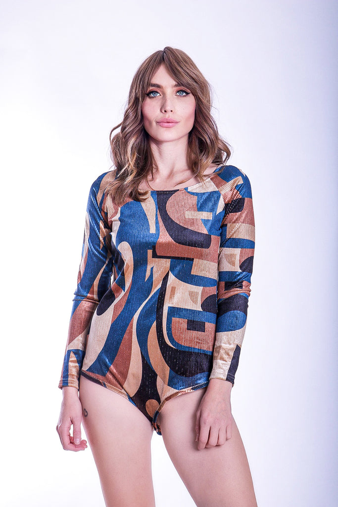 Traffic People Harold and Maud Cord Printed Bodysuit in Blue and Beige Side View Image