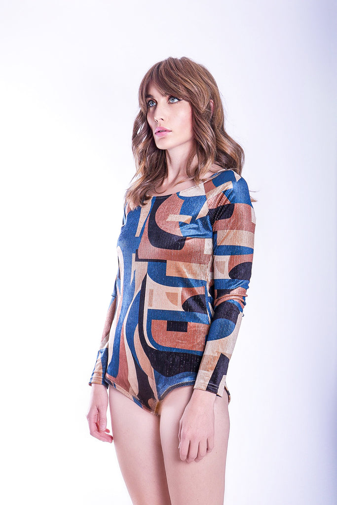 Traffic People Harold and Maud Cord Printed Bodysuit in Blue and Beige Close Up Image
