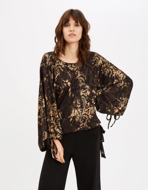 Traffic People Maude Oversized Floral Top in Black and Gold Front View Image