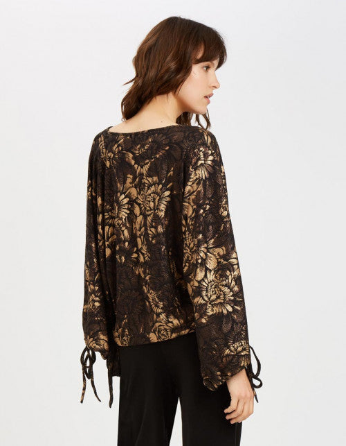 Traffic People Maude Oversized Floral Top in Black and Gold Side View Image