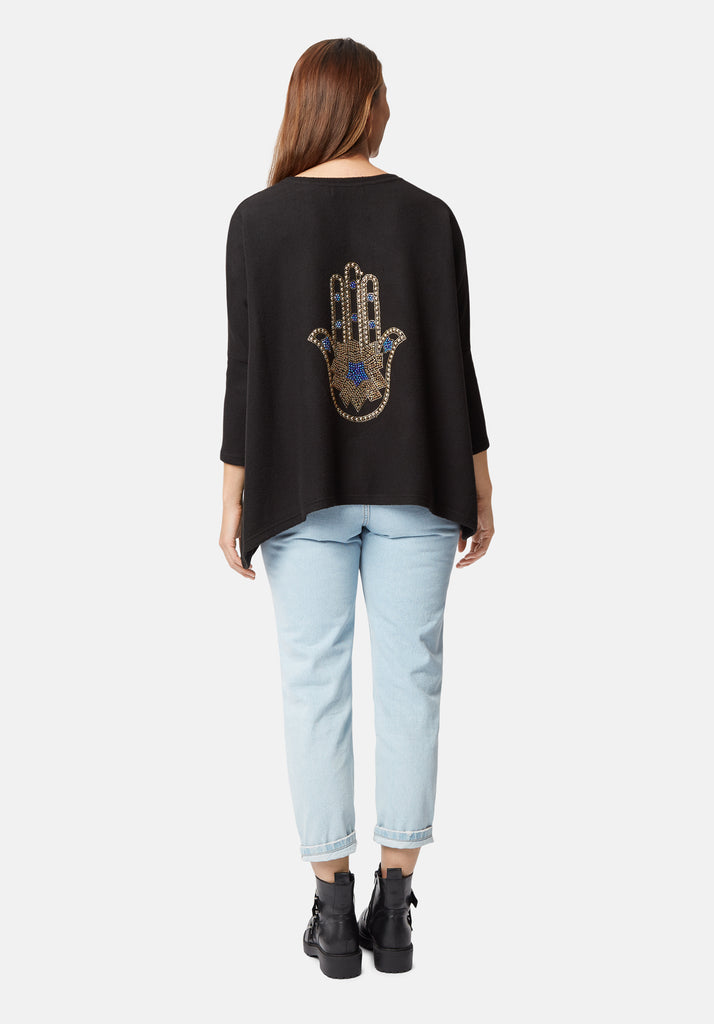 Traffic People Hamsa Jewelled Motif Sloppy Joe Jumper in Black Side View Image