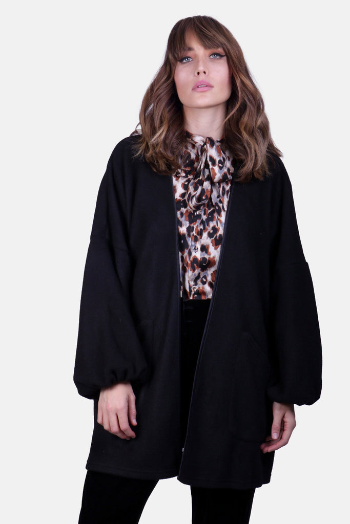 Traffic People Hamsa Jewelled Motif Cardigan in Black Close Up Image