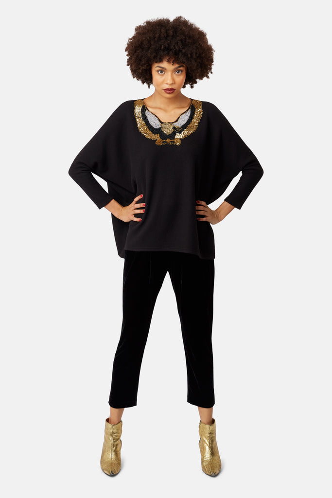 Traffic People Eagle Jewelled Motif Sloppy Joe Jumper in Black Front View Image