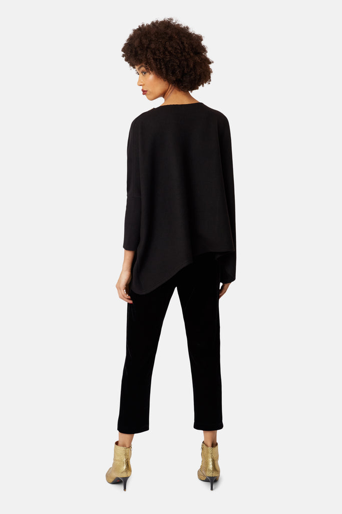 Traffic People Colby Peg Velvet Trousers in Black Side View Image