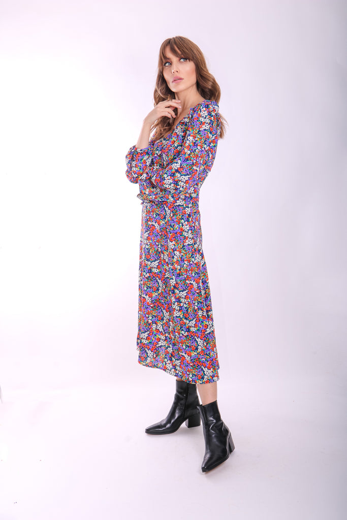Traffic People V-neck Long Sleeve Carrie Dress in Floral Print Back View Image