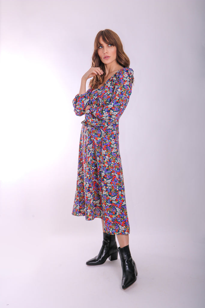 Traffic People V-neck Long Sleeve Carrie Dress in Floral Print Front View Image
