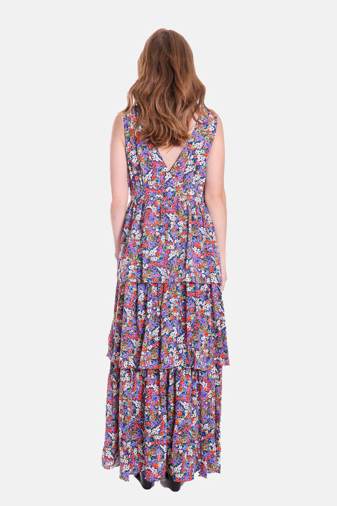 Traffic People Nirvana Tiered Sleeveless Maxi Dress in Navy Side View Image