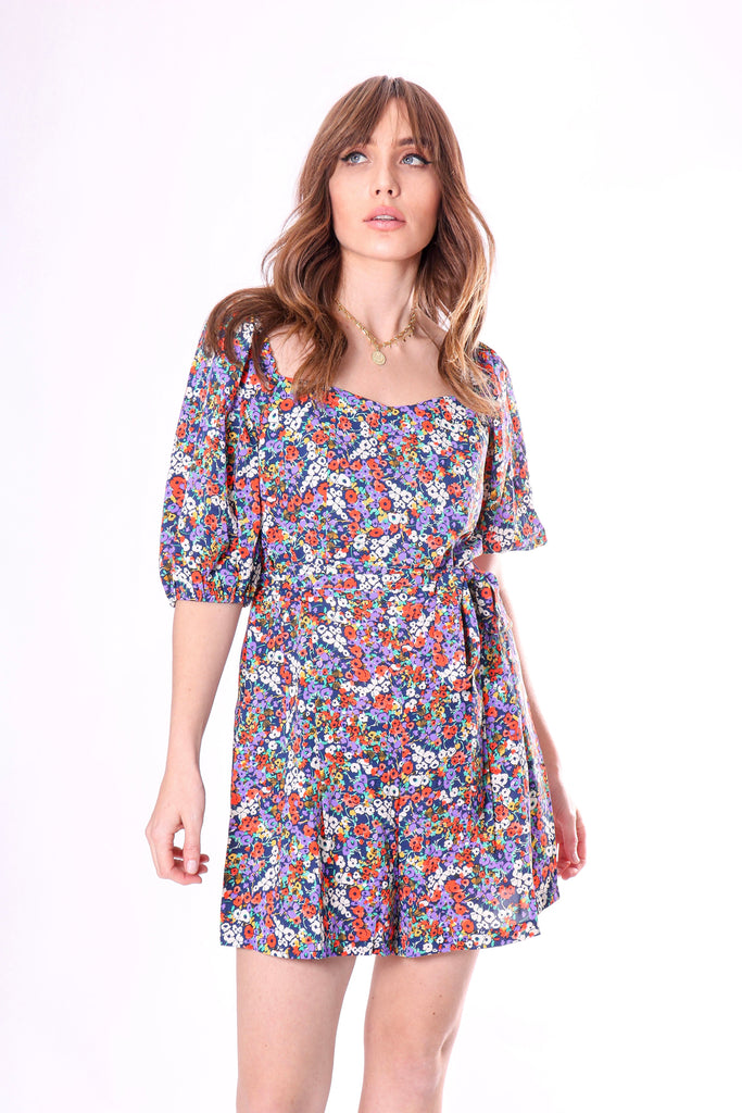 Traffic People Dandy Ditzy Floral Print Playsuit in Navy Front View Image