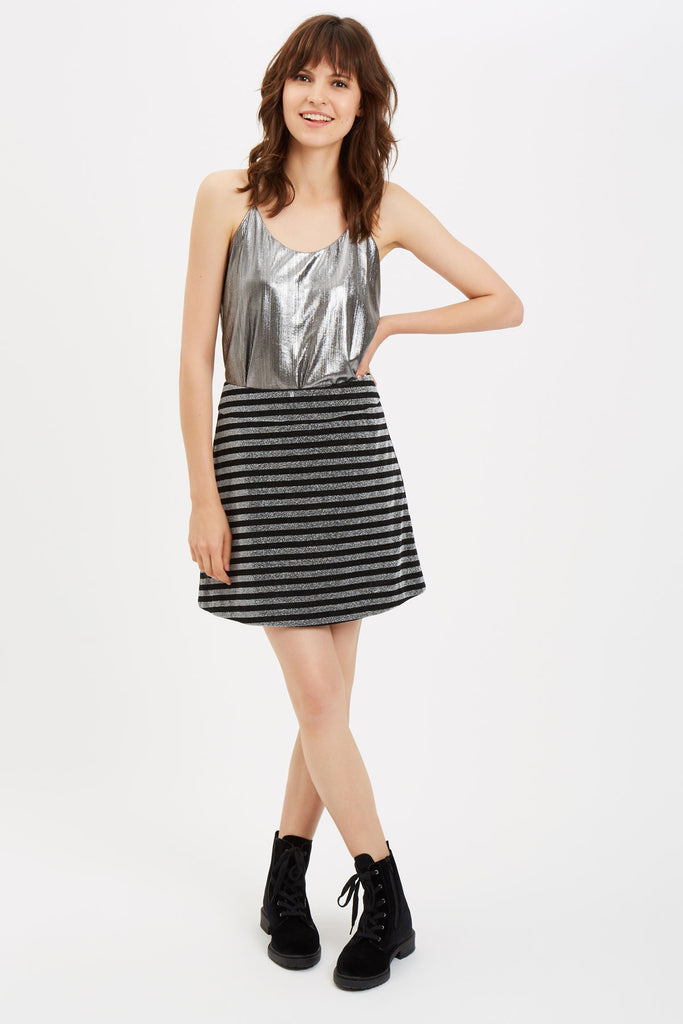Traffic People I Like To Boogie Metallic Camisole in Silver Side View Image